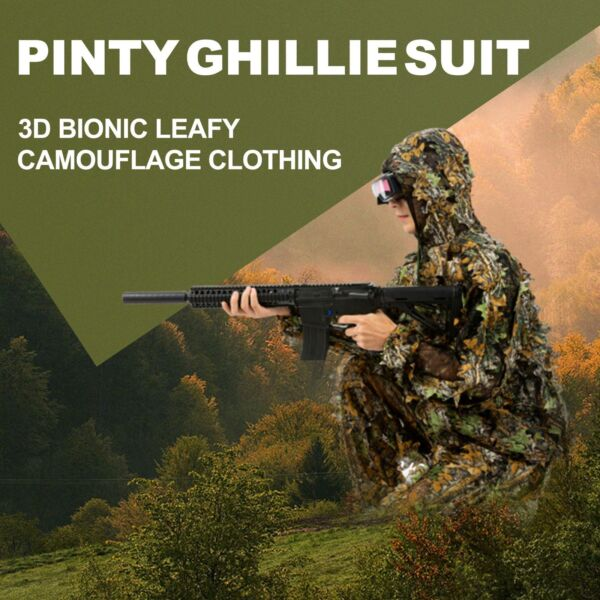 Leafy Ghillie Suit Longleaf Camo Jacket Pants for Camping Hunting Airsoft Zipper