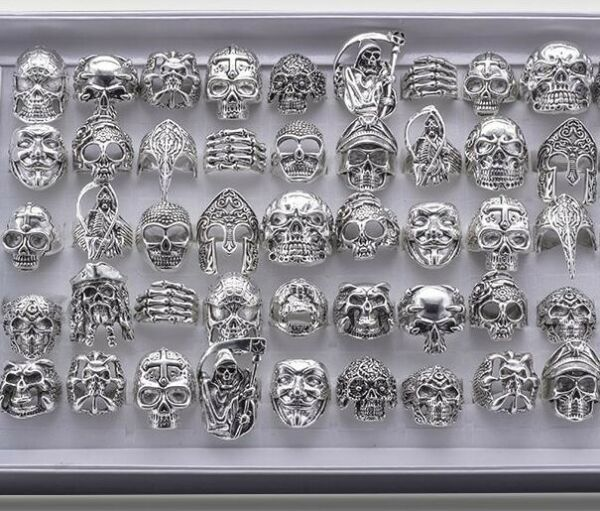 Wholesale 25pcs Lots Gothic Punk Skull Antique Silver Rings Mixed Style Jewelry $16.99