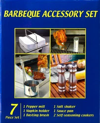 BBQ Grill Set Glo Master Napkin Holder Pot Brush Salt Shaker Pepper Mill