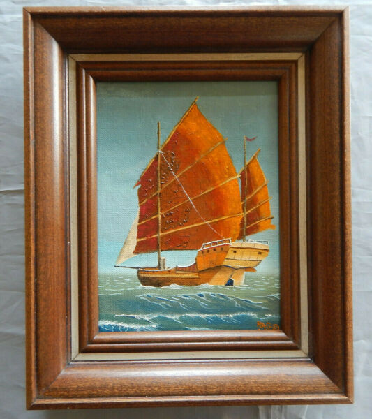 CHINESE JUNK original oil on canvas painting artist signed framed ocean ships