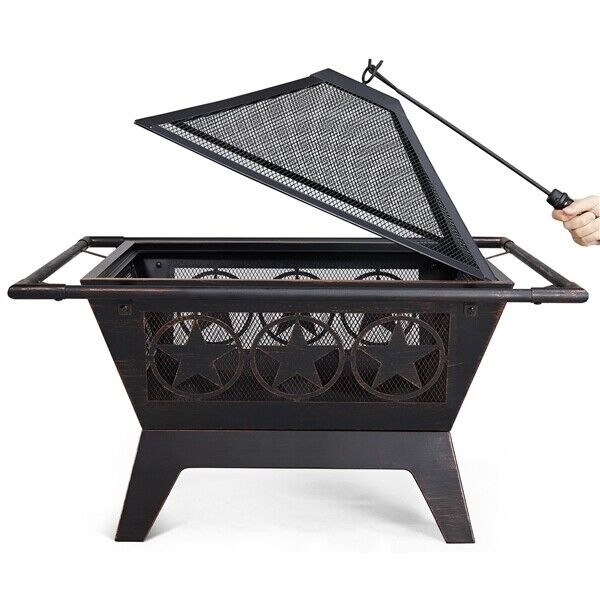32#x27;#x27; Iron Square Fire Pit Outdoor Fire Bowl for Camping Beach Bonfire Fireplace