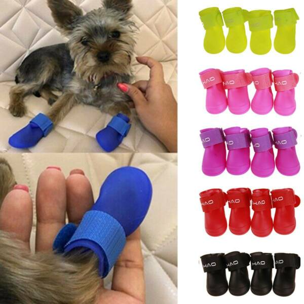 4Pcs Rain Boots Waterproof Anti Slip Protective Shoes For Small Puppy Dog Pets $11.59