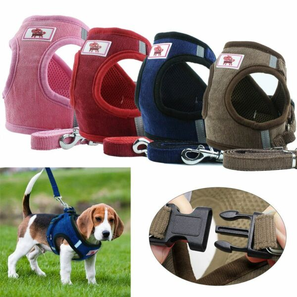 Small Dog Cat Breathable Mesh Harness Vest Collar Chest Strap Leash Size XS XL $7.80