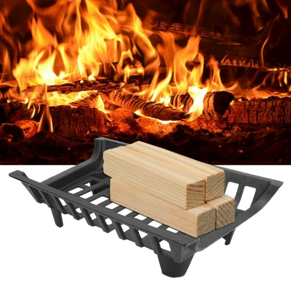 Fire Grate Black Heavy Duty Cast Iron Fireplace Grate Wood Stove Firewood