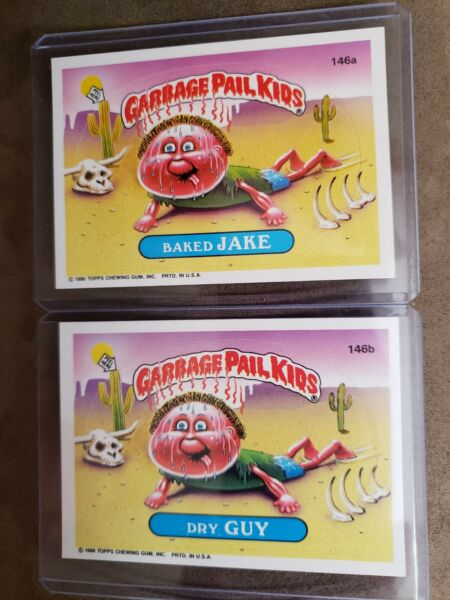 1986 GARBAGE PAIL KID CARDS #146 a b Baked JAKE amp; Dry GUY MINT AUTHENTIC CARDS