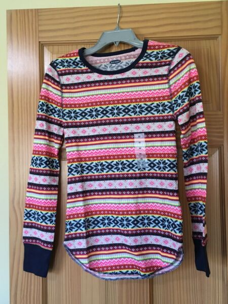 NWT Old Navy Soft Thermal Knit Tee Shirt Women Multicolor Fair Isle SMLXL