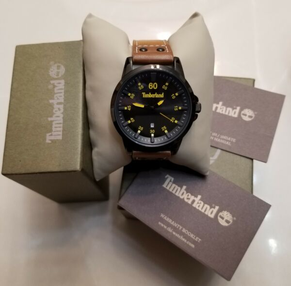 Mens Timberland Brown Leather Strap Quartz Round Face Logo Watch New $54.99
