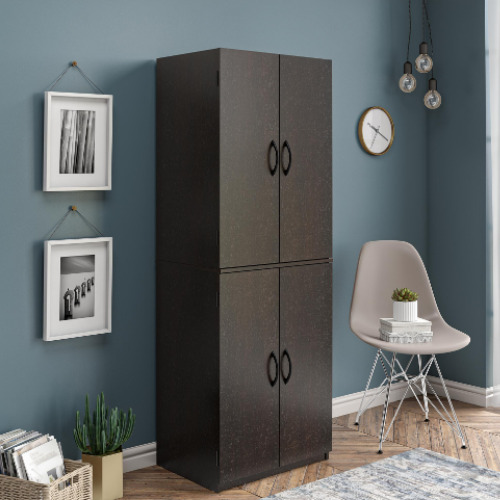 Tall Storage Cabinet Kitchen Pantry Cupboard Organizer Furniture Dark Chocolate