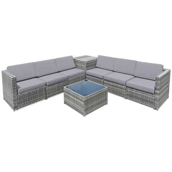 8PCS Outdoor Furniture Set Conversation Cushioned Sectional Sofaamp; Storage Table $649.75