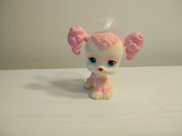Authentic Littlest Pet Shop #225 Pink Poodle Dog Blue Eyes Real Hair Hasbro $10.00
