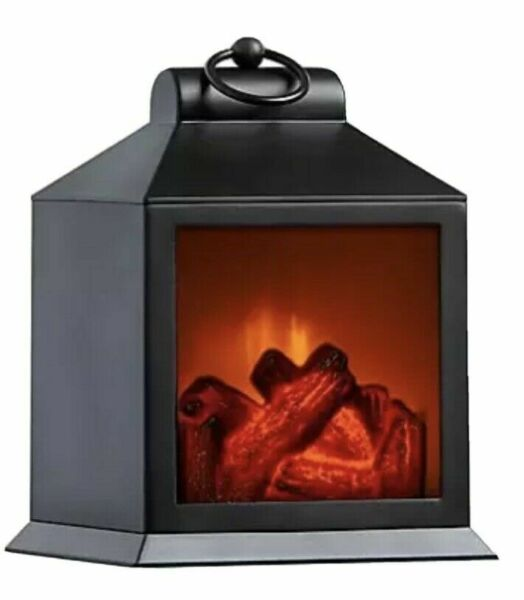 NEW GRAYSON HOME Small LED Tabletop Fireplace in Black 8 inch