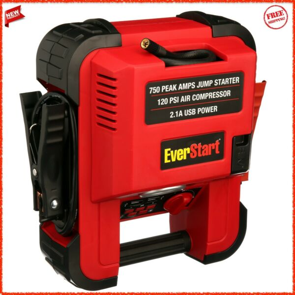 Auto Battery Jump Starter Air Compressor 750 Peak Amps Portable Car SUV Charger $55.92