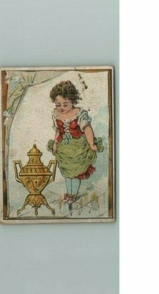 Coffee Trade Card S Dilworth Victorian Urn Advertising Antique Young With Girl