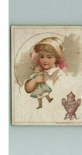 Coffee Trade Card S Dilworth Victorian Urn Advertising Antique Girl Holding Doll