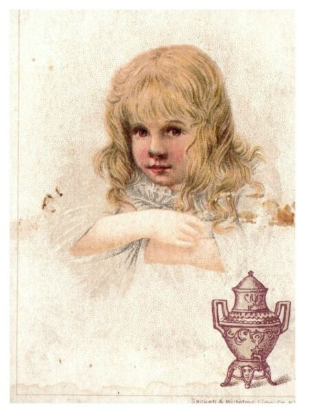 Coffee Trade Card S Dilworth Victorian Urn Advertising Antique Little Girl Pose