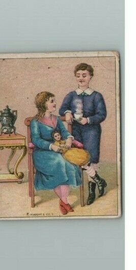 Coffee Trade Card S Dilworth Victorian Urn Advertising Antique Couple With Doll
