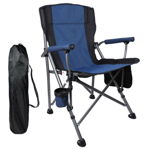 Outdoor Recliner Chair Camping Folding Chairs Rocking Portable Cup Holder