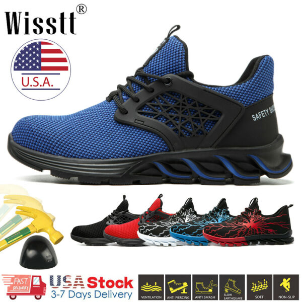Mens Safety Work Shoes Indestructible Steel Toe Boots Lightweight Sneakers Women $31.36