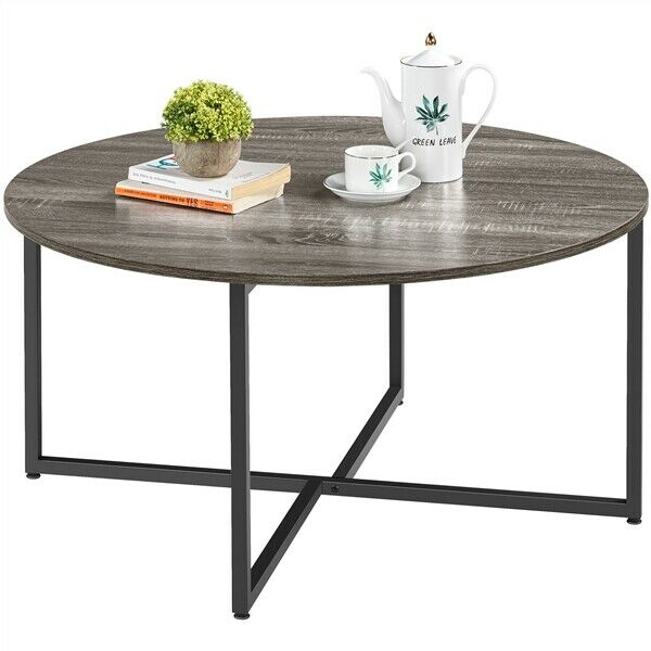 35.5in Rustic Round Coffee Table w Iron Leg for Living Room Bedroom Home Office