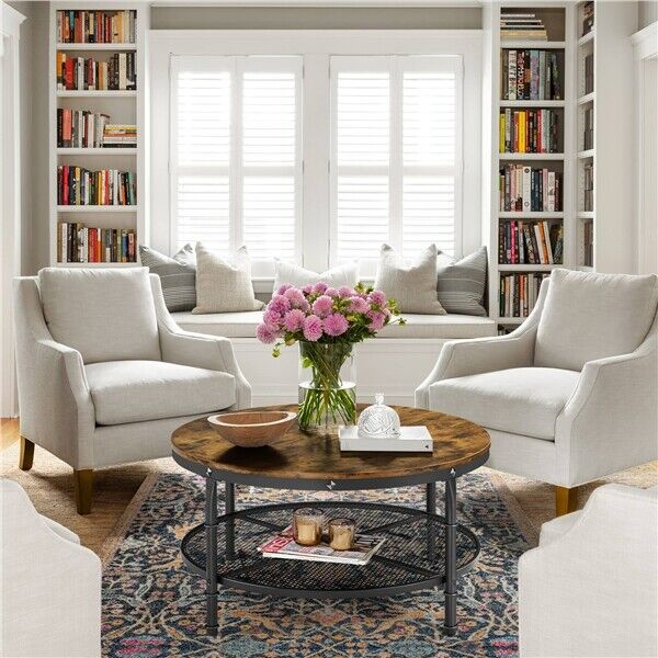 2 Tier Rustic Round Coffee Table Home Furniture w Storage Shelf for Living Room