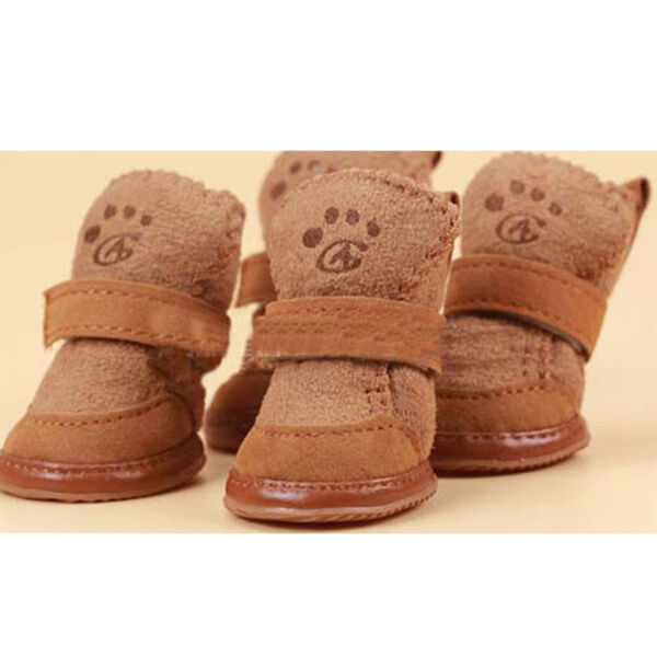 Warm Winter Pet Dog Boots Puppy Shoes For Small Dog Brown SIZE S Key Ring $6.09