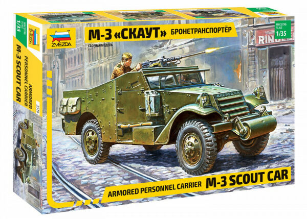 Zvezda 3519 M3 Scout Car US UK Soviet Armored Personnel Carrier 1 35 $15.90
