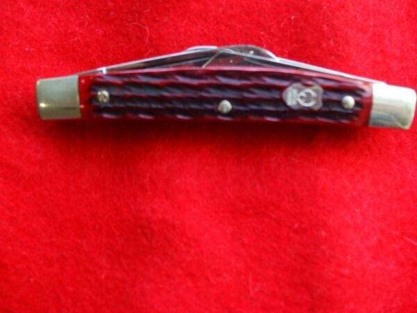 Buck Creek Bear amp; Bull German Congress Pocket Knife Red Bone Handle.97 mint