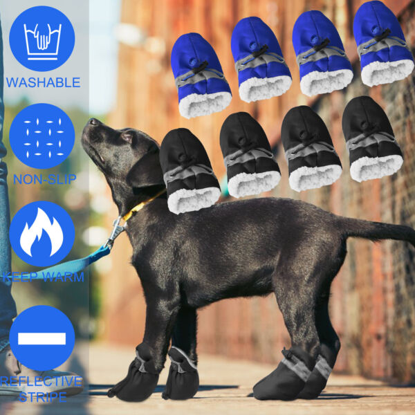 4pcs Warm Winter Pet Dog Boots Puppy Shoes Protective Anti slip Protective Socks $8.95