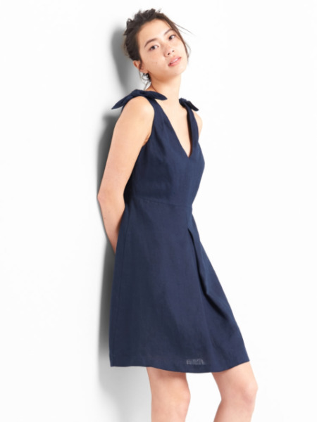 NEW GAP Linen Fit amp; Flare Dress Tie Shoulders Double V Blue Womens 12 L $69 NWT $27.99