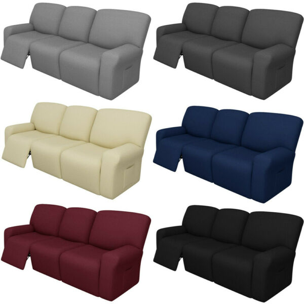 8 Pcs Jacquard Recliner Sofa Slipcover Couch Cover 3 Cushion Furniture Protector $62.69