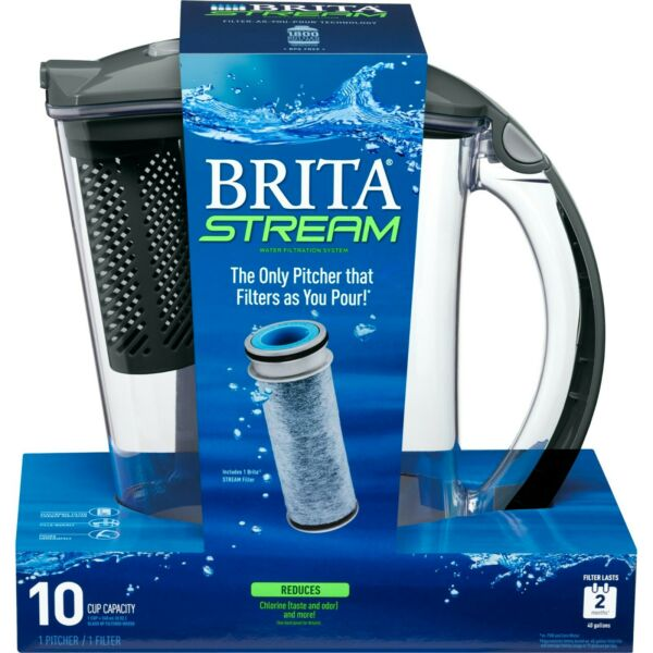 Brita Stream Water Filtration Rapid Filter Water Pitcher 10 Cup New In Box