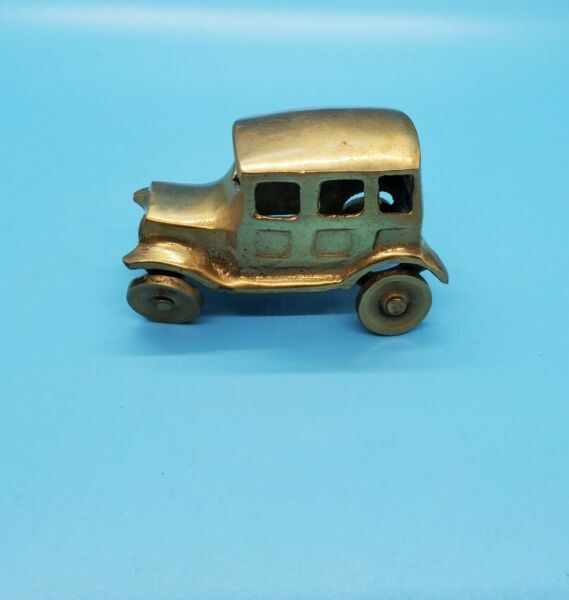 Small Brass Car Delivery Truck Auto Vintage Made In India