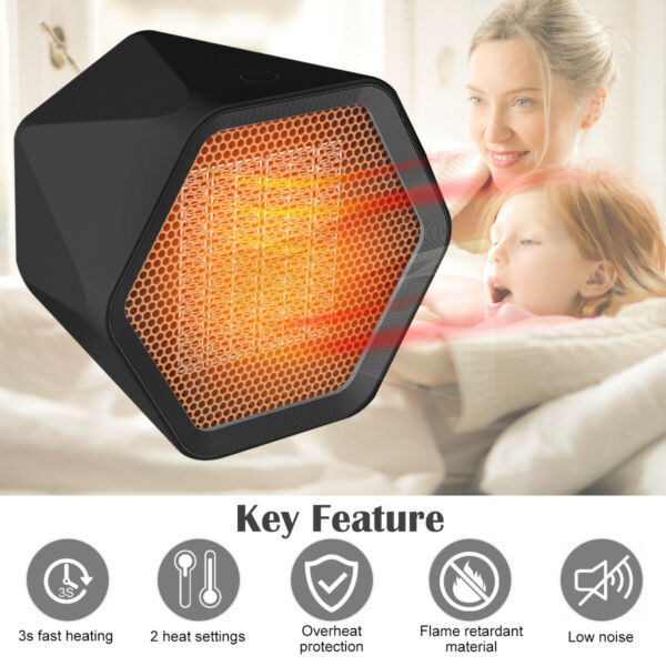 1000W Mini Ceramic Electric Heater Home Office Space Heating Portable Fan Silent $14.99