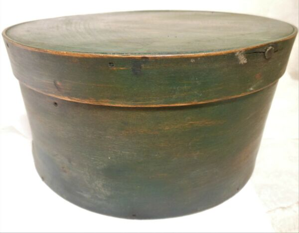 Good Old Green Painted Antique Covered Pantry Box 9 3 4#x27;#x27; diameter