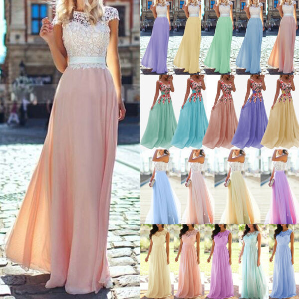 Women Lace Wedding Bridesmaid Formal Prom Evening Party Gowns Maxi Dress Holiday