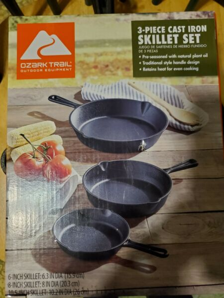 3 Piece Cast Iron Skillet Pan Set Cookware Pre Seasoned Stove Oven Vintage Black