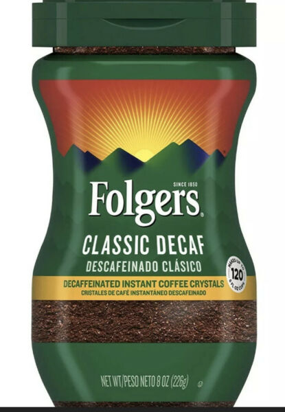 Folgers Decaffeinated Instant Coffee Classic Decaf 8 Ounce Jar