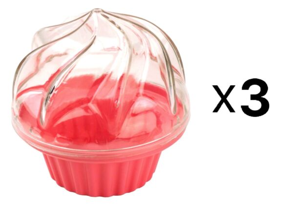 Fox Run Single Cupcake Carrier Muffin To Go Lunch Box Pink Plastic 3 Pack