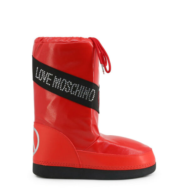 Love Moschino Boots Women#x27;s Red Logo Heart Studs Winter Snow Isolated Shoes $140.00