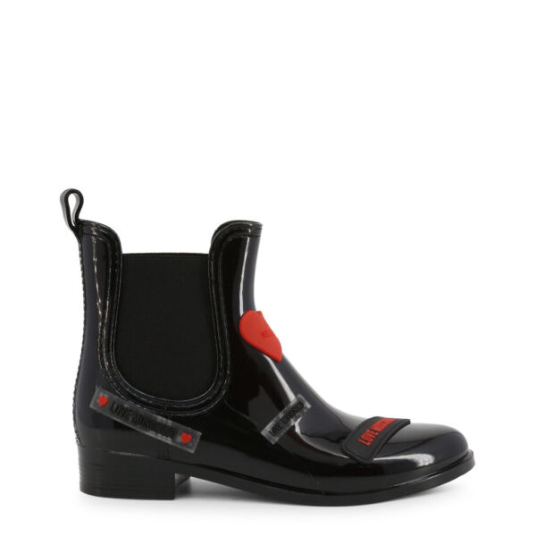 Love Moschino Boots Shoes Women#x27;s Black Love Tag Rain Ankle Mid Calf Chelsea $140.00