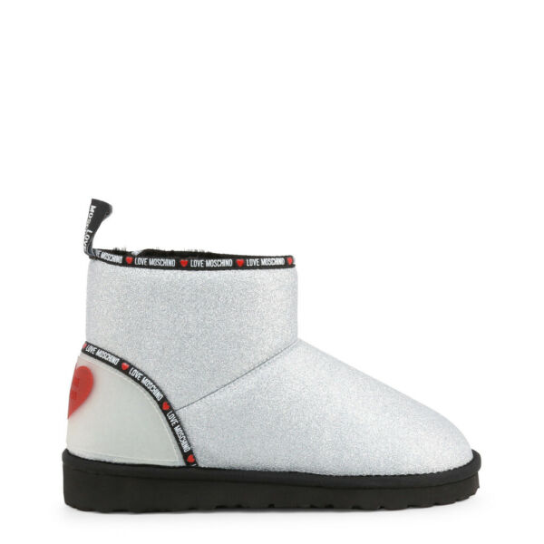 Love Moschino Boots Women#x27;s Silver Logo Heart Winter Mid Calf Ankle Shoes $154.00