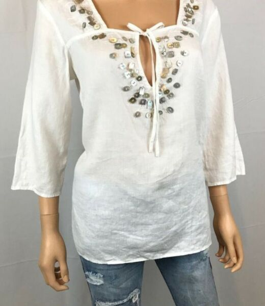 j jill Tunic Linen Cover up With Beautiful Shell Detail White Large $15.00