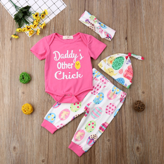 NEW #x27;Daddy#x27;s other Chick#x27; Baby Girls Bodysuit Pants Headband Hat Easter Outfit