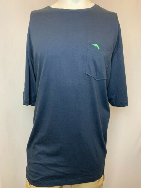 New Tommy Bahama Men#x27;s Short Sleeve Pocket T Shirt Navy Blue XLT $14.99