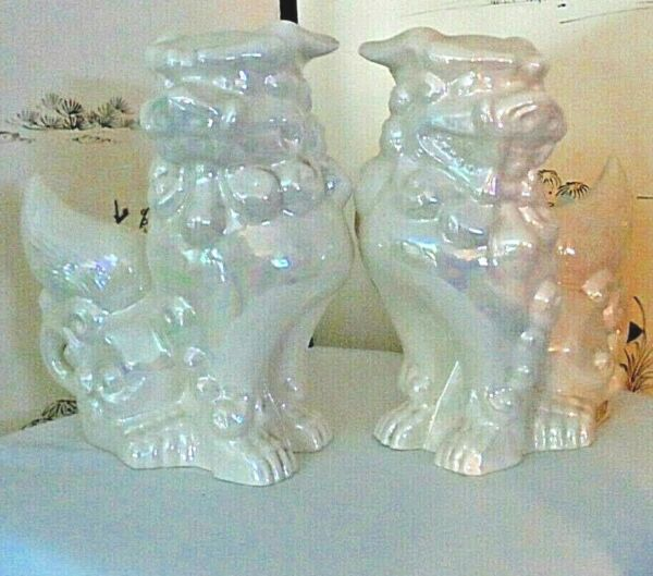 9 x 8 pair Blanc de Chine Vintage Luminescence FOO fu DOGS Temple Lion Dogs $265.00