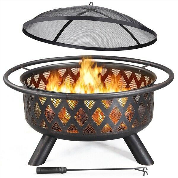 36#x27;#x27; Large Outdoor Iron Fire Pit Bonfire Outdoor Heating Firebowl for Camping