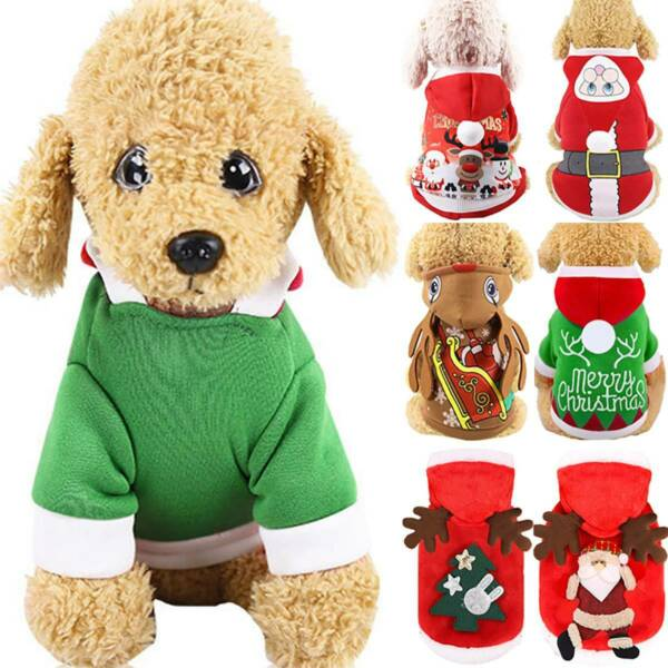 Pet Cat Santa Hoodie Coat Costume Puppy Dog Christmas Winter Warm Jumper Outfits $9.89