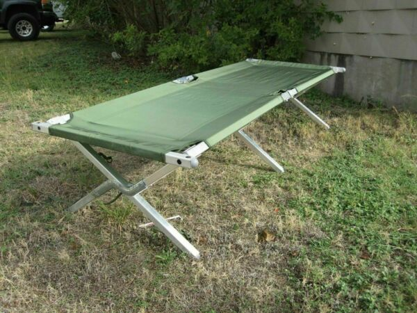 USGI MILITARY CAMPING COT HEAVY DUTY FRAME SLEEPING BED OD GREEN FOLDING USED