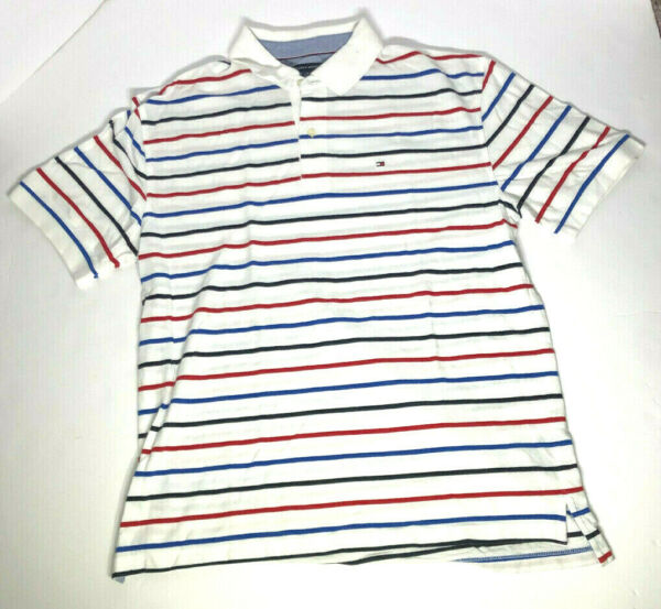 Mens Tommy Hilfiger Size XL Red White Blue Striped Short Sleeve Polo $15.00