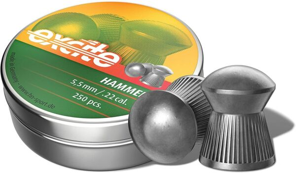 Hamp;N Excite HAMMER 250 Count DOMED 5.5mm .22 Caliber Pellets MADE IN GERMANY $12.95